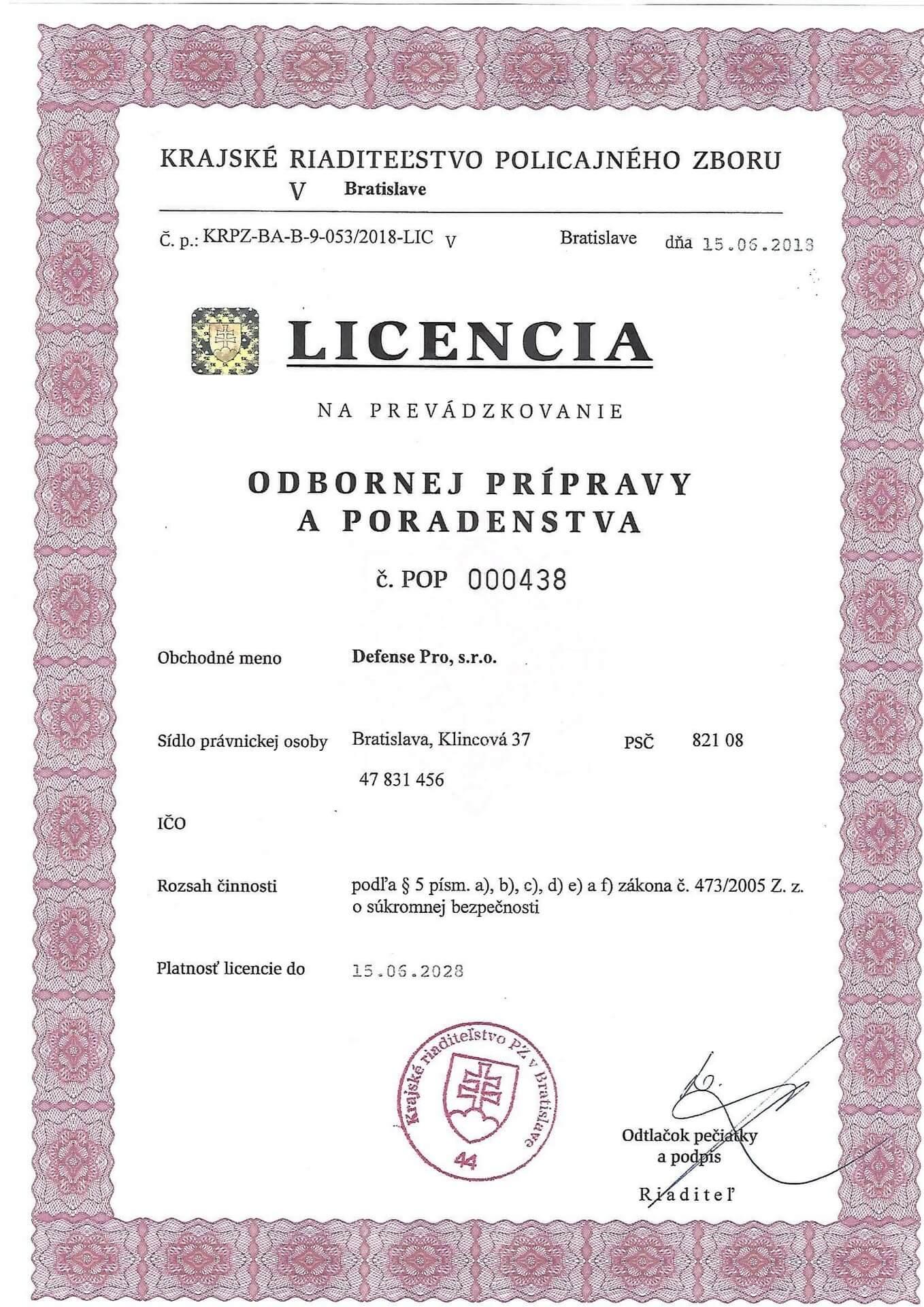 Licencia odbornej prípravy a poradenstva