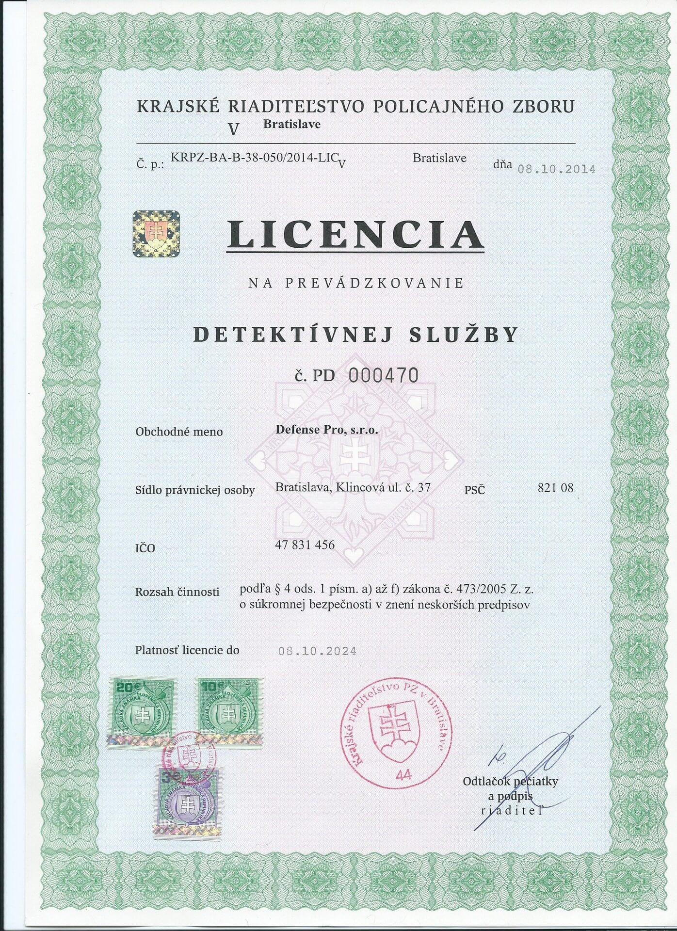Licencia detektívnej služby