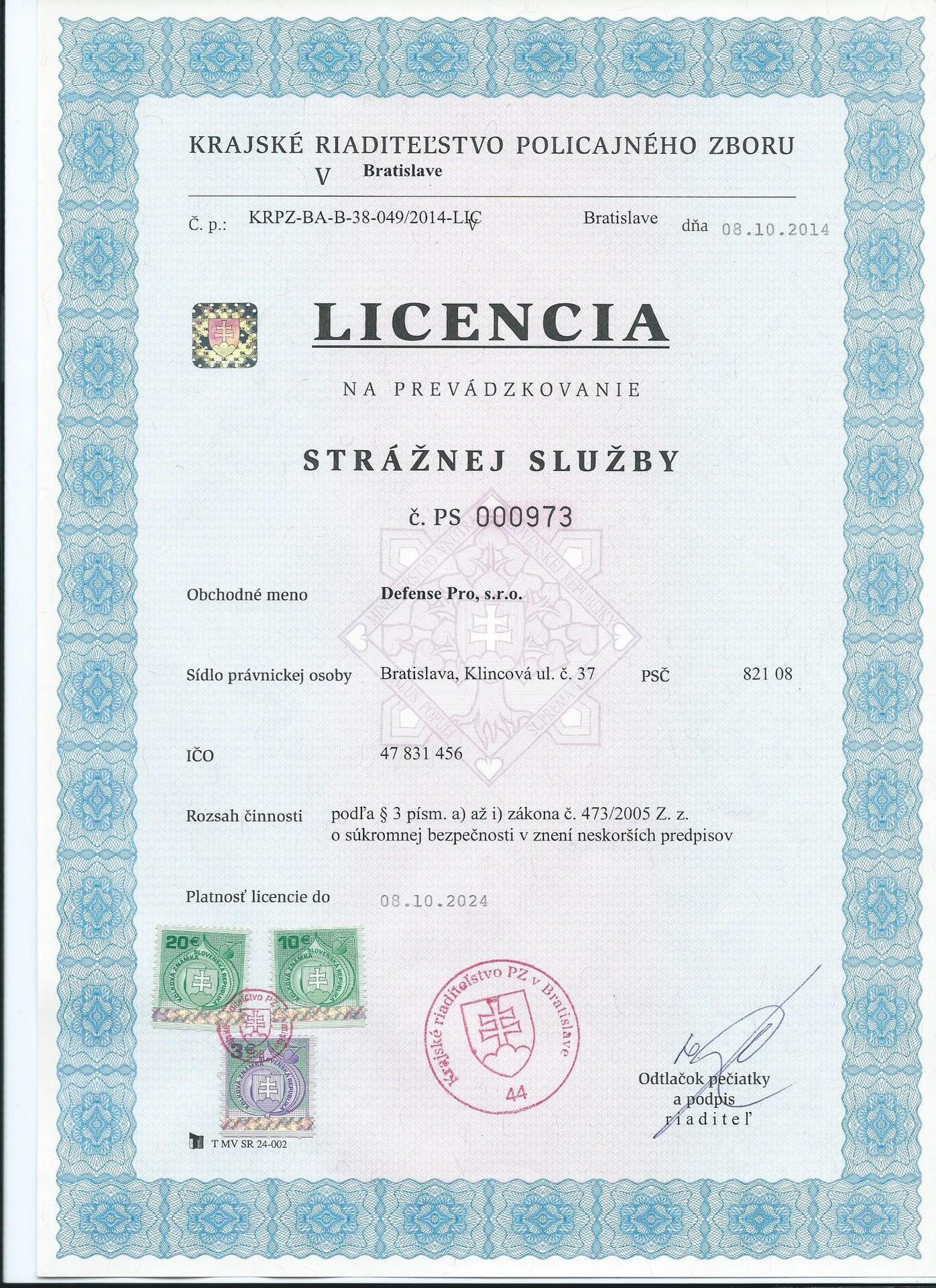 Licencia strážnej služby